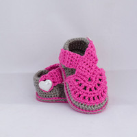 sandals barefoot baby sandals pattern - Pink baby girl buckle casual barefoot sandals and soft bottom veil Crochet knitting summer toddler sandals pairs