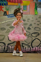 Wholesale Real Picture Girl s Pageant Dresses Pink Long Sleeve Crystals Organza Ball Gown Cute Little Kids Pageant Dress Flower Girls Gowns
