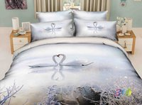 beautiful lake homes - snow Swan lake beautiful Scenic painting bedding sets d queen size doona duvet cover without Comforter pure cotton fabric