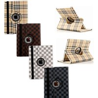 Cheap Hot Selling Fashion Designer Cover For iPad Air 2 Checker Plaid Rotating Holder Leather Case