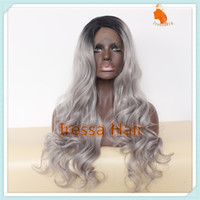 Wholesale Fashionable Body Wavy B omber Gery Medium Hand Tied Synthetic Lace Front Wigs Glueless Futura Heat Resistant fiber wig
