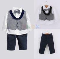 baby turtleneck shirts - Baby Boys Clothing Sets Autumn Hot Gentleman Waistcoat White Shirt Pants Bow tie Kids Set Children Clothes Suit Age T854