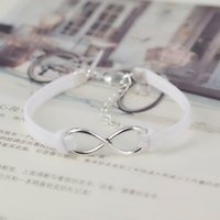 no minimum order - No Minimum Order New Hand woven Color Infinity Silver Pendant Korean Velvet Charm Bracelet Fashion Jewelry