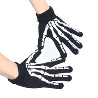 Wholesale Devil Skull Gloves Unisex Winter Black Elastic Design Scary Skeleton Ghost Costume Cosplay For Halloween Night