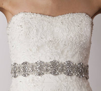 Wholesale 2015 Cheap Bridal Belts with Crystals Bridal Sashes with Rhinestones Bridal Accessories Removable Belt for Prom Evening Wedding Dress
