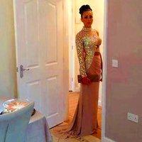 Cheap 2015 New Design Crystal High Neck Evening Kim Kardashian Dress Gowns Vestidos Long Celebrity Prom Dresses Red Carpet Gowns