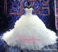 Wholesale 2015 Luxury Cheap Beaded Embroidery Bridal Gown Princess Gown Sweetheart Corset Organza Cathedral Ball Gown Wedding Dresses BO5924