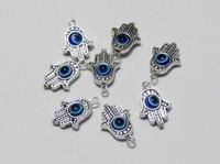 Wholesale 25 Tibet Silver Hamsa Hand EVIL EYE Kabbalah Good Luck Charm Pendants