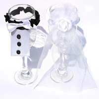 Wholesale Wedding Wine Bottle Glasses Champagne Cup Cover Set Bride Groom Cute