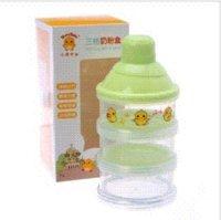 Pollo amarillo de tres capas cajas de leche en polvo dispensador de contenedores lindo para su bebé resistencia a alta temperatura de 120