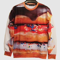 bean chili - w20151222 Couture New Spring Women Men Funny Sweatshirt D Print Hoodies Coffee Beans Cabbage Chili Donuts Clothes Brand Design tops
