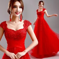 Wholesale Red Evening Dress New Arrival Bride Married Party Dress Lace Beading Sexy Long Formal Dress Prom Dresses
