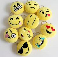 Wholesale QQ expression plush pendant Lovers Key Chains Emoji Smiley Emotion Yellow QQ Expression Stuffed Plush doll toy for Mobile bag pendant QLK176