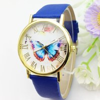 beautiful girls without dress - 2016 Fashion Brand watches Beautiful Butterfly Dial leather strap Dress watches for girls women boys men