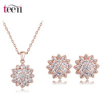 best gifts for marriage - Teemi New K Rose Gold Plated Best Wedding Gift Fashion Marriage CZ Rhodium Plated Necklace Earrings Jewelry Set For Women
