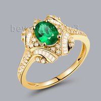 baguette diamond band ring - K Yellow Gold Genuine Emerald Gemstone Rings Oval Cut x7mm With SI Baguette Cut Diamond WU281