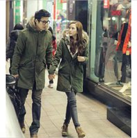 men winter parka - Lovers Clothes New Men Women Military Long Winter Trench Coat Jacket Hooded Parka Overcoat DH04