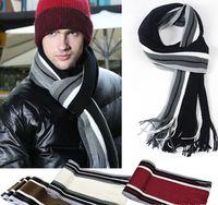 Wholesale New Hot Selling Men Winter Fashion Striped Knit Warm Scarf Length cm Width cm