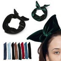 ag hair - Foreign trade original single ladies headband hair accessories denim velvet cloth headband bow headband rabbit ears headdress AG