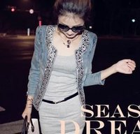 Wholesale 2015 women jeans jackets formal Rhinestone Sequins zipper o neck long sleeve fashion denim jackets coats female outerwear tops Fit Jeans
