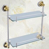 Wholesale Cody bathroom double glass shelf full of copper bathroom hardware accessories factory direct I114