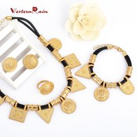 Wholesale Leather Bracelet Necklace Set - WesternRain 2016 Real Gold Plated 18K Top Quality New Women braided leather jewelry Romantic jewelry High-grade accessories jewelry set A404