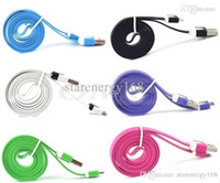 Wholesale NEW Micro USB Cable Sync Data Charging m m m Cord Flat Woven Fabric Dual Colors for Samsung Galaxy S3 S4 S5 HTC Blackberry