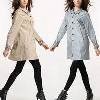 Wholesale Women Rainwear Turn down Collar Waterproof Clothing Leopard Patchwork Pocket Hooded Raincoat Colors KY0021 Kevinstyle