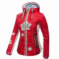 Wholesale TOP brand Women FILLER DOWN ski snowboard waterproof fabric jacket TOW sided wear ski jacket B1504 FREE GIFT for hat