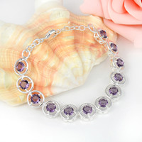Wholesale sterling silver amethyst meaningful bracelet jewelry B0905