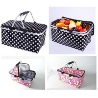 Wholesale 2015 Fashion Printing Picnic Lunch Bag Foldable Reuseable Compact Tote Bag Travel Picnic Basket Environment Friendly