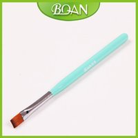 angeled brush - Pc Green Wood Handle Flat Angeled Gel Brush with Import Nylon Hair Nail Gel Pen