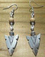 antique arrowheads - Fashion Hot Sale Pair Antique Silver Alloy Retro Arrowhead Earrings Pendants DIY Metal Jewelry E7184