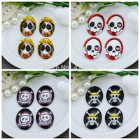 Wholesale Skull Cameo Cabochon - 10PCS Inner 13x18mm Pirate Skull Oval Glass Cabochon Oval Flat Back For Cameo Setting Pendant Cover Embellishments Thickness 4mm