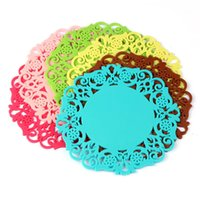 Wholesale New X Lovely Silicone Lace Flower Cup Coaster Nonslip Cushion Placemat Anne