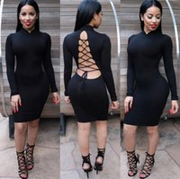 bandage cloth - Women Long Sleeve Black Bandage Bodycon Dress Sexy Backless Lace Up Knee Length Dress Club Party Dresses Women Cloth