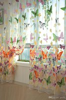 Wholesale cheap fashion Pieces Butterfly Sheer Curtain Panel Window Room Divider Pastoral style Curtain high quality