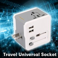 Cheap US UK EU AU Universal All In One International Travel Power Plug Adapter Charger With 2 Port USB for Cell Phone PDA Camera