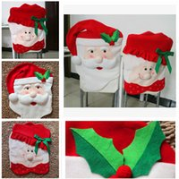 Wholesale DHL70 cm christmas chair Mr Mrs santa claus cover chair covers for christmas Decorations Kitchen Chair Covers Dinner Decor Chair Gift m496