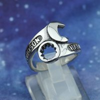 Wholesale New Jewelry Unique Men s Biker wrench Ring L Stainless Steel Punk Trendy Spanner Ring As a Gift for Boy