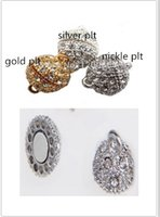 Wholesale 5Pcs x20mm Silver Gold Nickle Plated Rhinestone Crystal Paved Magnetic Clasps N112