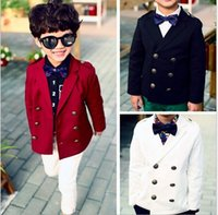 Cheap 2015 Spring Boys Gentleman Coat Double-Breasted Preppy Jackets Children Clothing Cotton Jacket Coat Overcoat Cloth Black Red White K3829