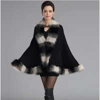 Wholesale Fall Winter New Soft Cashmere Bicolor Fox Fur Cloak Coat Faux Fur Poncho Shawl Overcoat Women Birthday Gift