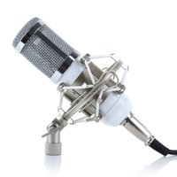 Wholesale Pro Condenser Microphone BM800 Sound Studio Recording Dynamic Mic White Shock Mount Cable Windscreen A2