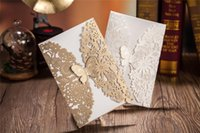 Wholesale Customized Printing D Fancy Design Pocket Butterfly Wedding Invitation Cards for Winter