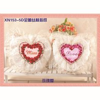 Wholesale Beautiful Design D Series Lace Heart Pillow Pair Embroidery Cross Stitch Kits Home DIY Dector Art DHL