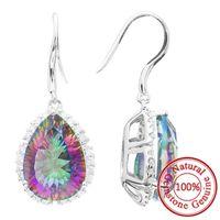 Wholesale 12ct Luxury Natural Rainbow Mystic Topaz Earrings Dangle Wedding Pear Genuine Sterling Silver Jewelry Gemstone Jewelry
