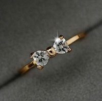 Cheap CZ Diamond rings Gold Plated finger Bow ring wedding engagement Zircon Crystal Rings jewelry B9 P123