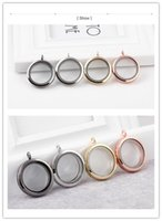 Cheap Statement Necklace Floating Lockets Living Lockets Glass Locket Magnetic Floating Lockets 30mm Stainless Steel the Circular Smooth Pendant