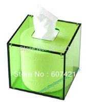 acrylic tissue box cover - Pack units Square Facial Green Acrylic Tissue Box Cover Napkin Dispenser